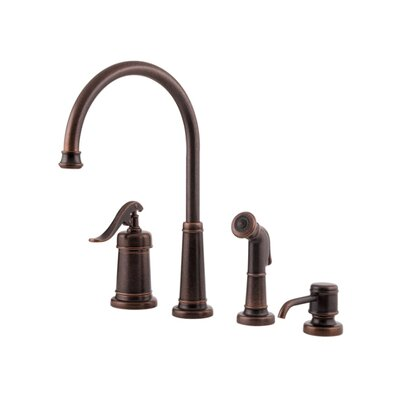 Ashfield Single Handle Deck Mounted Bar Faucet with Side Spray and Soap Dispenser Finish: Rustic Bronze