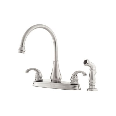 Treviso Double Handle Deck Mounted Kitchen Faucet with Side Spray Finish: Stainless Steel