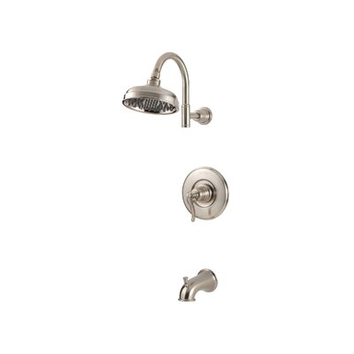 Ashfield Volume Control Tub and Shower Faucet with Lever Handle Finish: Brushed Nickel