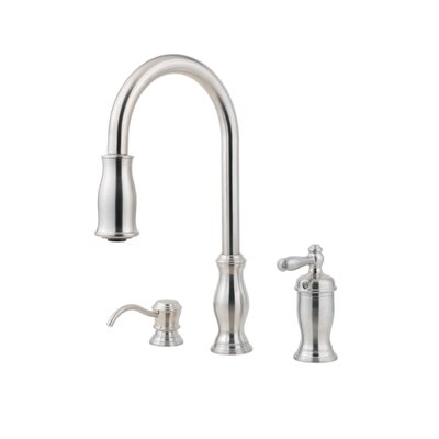 Hanover Pull Out Single Handle Kitchen Faucet with Soap Dispenser Finish: Stainless Steel