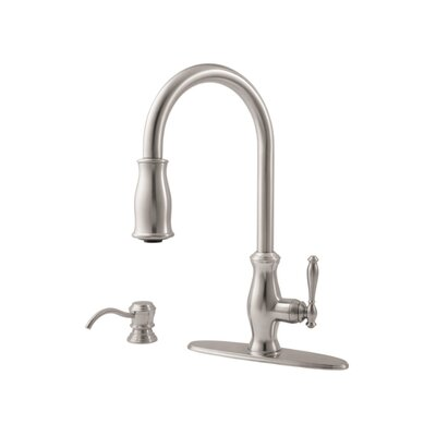 Hanover Single Handle Deck Mounted Kitchen Faucet with Soap Dispenser Finish: Stainless Steel