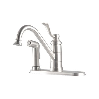 Portland Single Handle Deck Mounted Kitchen Faucet with Deck Plate and Single Post Mounting Ring Finish: Stainless Steel