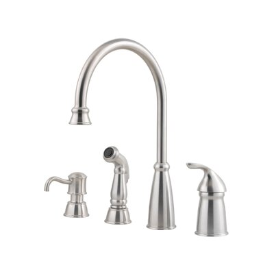 Avalon Single Handle Deck Mounted Kitchen Faucet with Soap Lotion Dispenser and Side Spray Finish: Stainless Steel