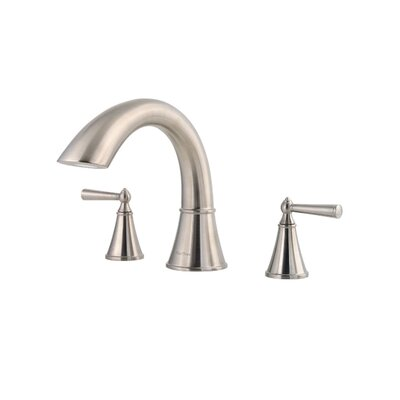 Saxton Two Handle Deck Mount Roman Tub Faucet Finish: Brushed Nickel