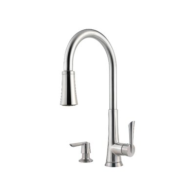 Mystique Single Handle Deck Mounted Kitchen Faucet with Pull Out Spray Finish: Stainless Steel