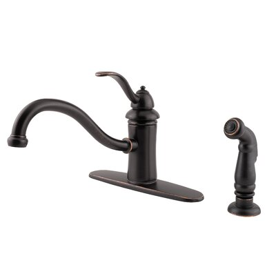 Marielle Single Handle Deck Mounted Kitchen Faucet with Side Spray Finish: Tuscan Bronze