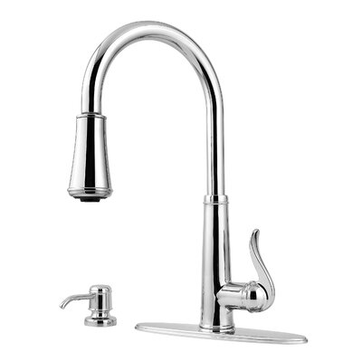 Ashfield Pull Down Single Handle Kitchen Faucet with Soap Dispenser Finish: Polished Chrome