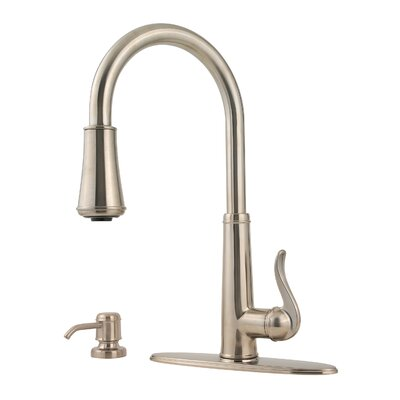Ashfield Pull Down Single Handle Kitchen Faucet with Soap Dispenser Finish: Brushed Nickel