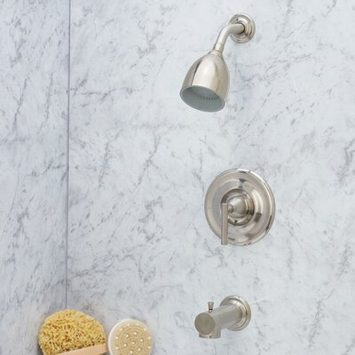 Contempra Diverter Tub and Shower Faucet with Lever Handle Finish: Brushed Nickel