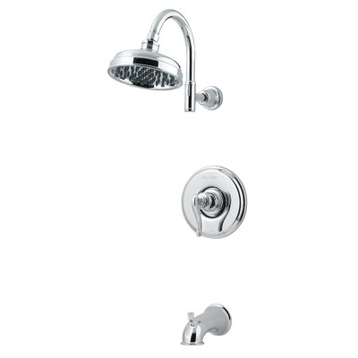 Ashfield Volume Control Tub and Shower Faucet with Lever Handle Finish: Polished Chrome