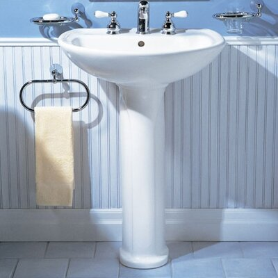 Cadet 24.5 Pedestal Bathroom Sink with Overflow Sink Finish: White, Faucet Mount: 8 Centers