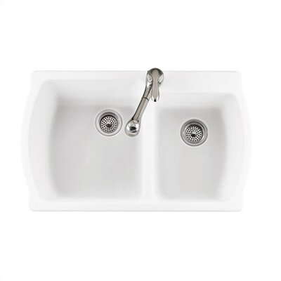 Low Price American Standard Silhouette 33 Shallow Double Bowl Kitchen Sink Finish Bone