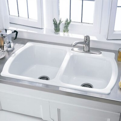 Attrayant Picture Of American Standard Chandler Americast Double Bowl Kitchen Sink  Finish: Bone, Faucet Holes