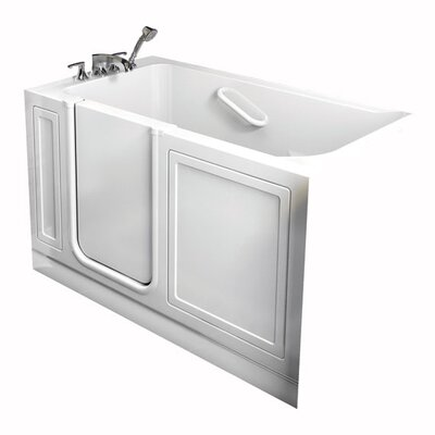 Acrylic 51 x 26 Walk-In Air/Whirlpool Bathtub with Air Spa and Drain Color: White, Drain Location: Left