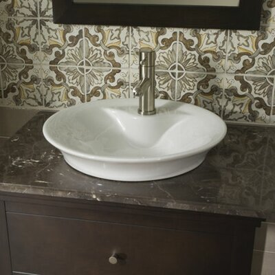 Circular Vessel Bathroom Sink with Overflow Sink Finish: White