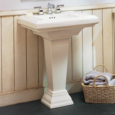 Town Square 24 Pedestal Bathroom Sink with Overflow Sink Finish: Linen, Faucet Mount: 8 Centers