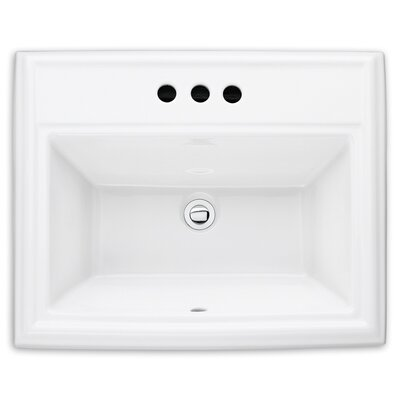 Town Square Self Rimming Bathroom Sink Sink Finish: White, Faucet Mount: 4 Centers