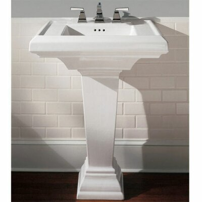 Town Square 24 Pedestal Bathroom Sink with Overflow Sink Finish: White, Faucet Mount: 8 Centers