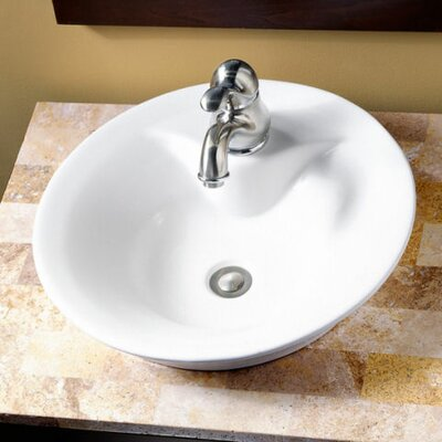 Circular Vessel Bathroom Sink Sink Finish: White