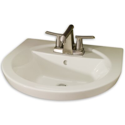 Tropic Petite 21 Pedestal Bathroom Sink with Overflow Sink Finish: White, Faucet Mount: 8 Centers