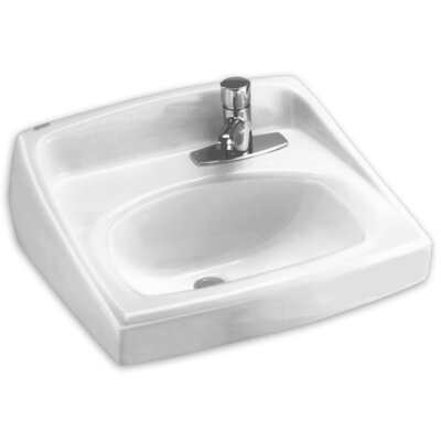 Lucerne Ceramic 21 Wall Mount Bathroom Sink with Faucet and Overflow