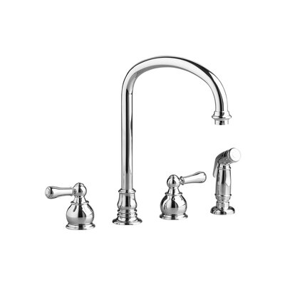 Hampton Two Handle Widespread Kitchen Faucet with Side Spray and Metal Lever Handles Finish: Polished Chrome
