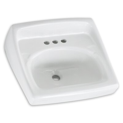 Lucerne 21 Wall Mount Bathroom Sink with Overflow Faucet Mount: 8 Centers