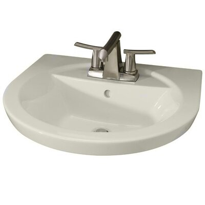 Tropic Petite 21 Pedestal Bathroom Sink with Overflow Sink Finish: Linen, Faucet Mount: 8 Centers