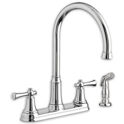Portsmouth Double Handle Deck Mounted Kitchen Faucet with Spray Flow Rate: 1.8, Finish: Stainless Steel