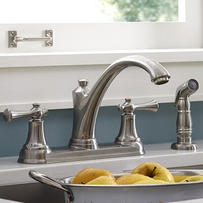 Portsmouth Double Handle Kitchen Faucet with Side Spray Finish: Stainless Steel, Flow Rate: 2.2