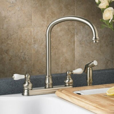Hampton Double Handle Deck Mounted Kitchen Faucet Finish: Satin