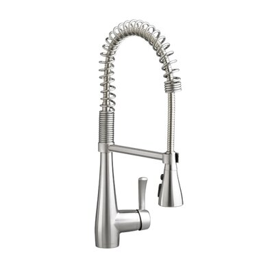 Quince Single Handle Deck Mounted Kitchen Faucet Finish: Stainless Steel