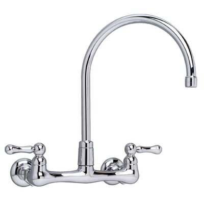 Heritage Two Handle Wall Mount Bridge kitchenFaucet with Optional Handles and Gooseneck Spout Handle Type: Metal Lever