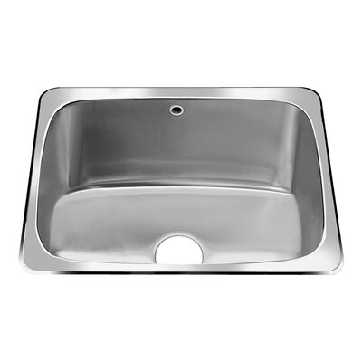 Stainless Steel Drop-In 25.63-Inch x 22.06-Inch Single Bowl Utility Sink in Brushed Satin Faucet Holes: 3 Hole