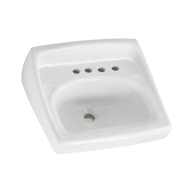 Lucerne 21 Wall Mount Bathroom Sink with Overflow Faucet Mount: 8 Centers with Right Hand Hole