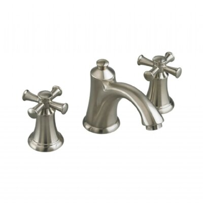 Portsmouth Widespread Bathroom Faucet with Double Cross Handles Finish: Satin Nickel