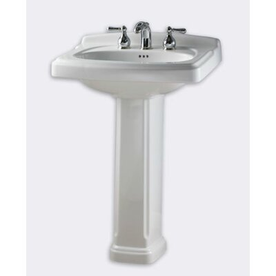 Portsmouth 24.38 Pedestal Bathroom Sink with Overflow Faucet Mount: 8 Centers, Sink Finish: White