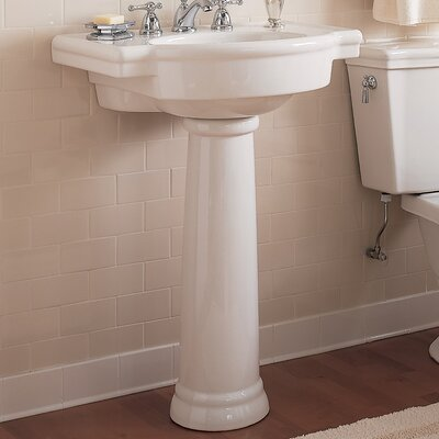 Retrospect Vitreous China 27 Pedestal Bathroom Sink with Overflow