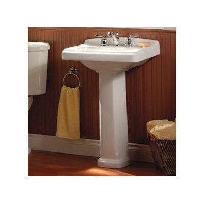 Portsmouth 24.375 Pedestal Bathroom Sink with Overflow