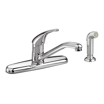 Colony Soft Single Handle Centerset Kitchen Faucet Finish: Polished Chrome, Optional Accessory: Side Spray
