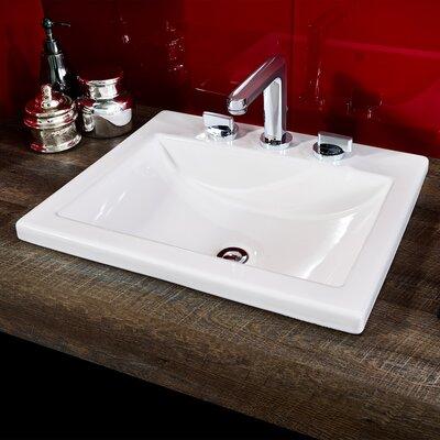 Studio Vitreous China Rectangular Drop-In Bathroom Sink with Overflow