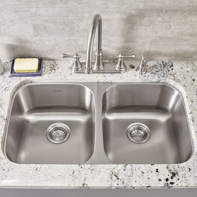Portsmouth 32.24 x 18.5 Double Basin Undermount Kitchen Sink