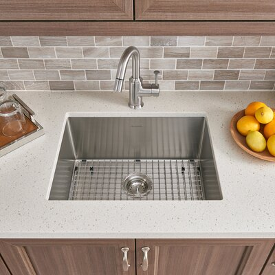Pekoe 23 x 18 Single Bowl Undermount Kitchen Sink with Grid and Drain