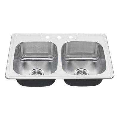 Colony 33 x 22 Double Basin Drop-In Kitchen Sink Faucet Drillings: 3 Hole