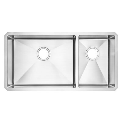 Pekoe 35 x 17.9 Double Basin Undermount Kitchen Sink with Grid and Drain