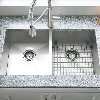 Edgewater 32.9 x 22 Double Basin Undermount Kitchen Sink with Grid and Drain