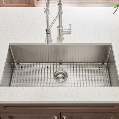 Pekoe 35 x 17.9 Single Bowl Undermount Kitchen Sink with Grid and Drain