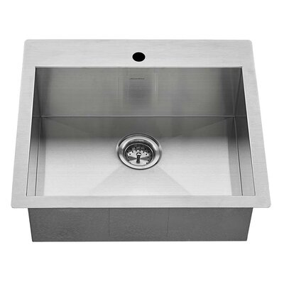 Edgewater Zero Radius 25 x 22 Single Bowl Drop-In Kitchen Sink with Grid and Drain