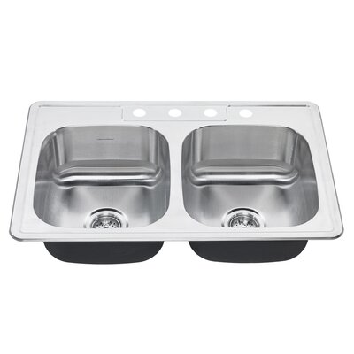 Colony 33 x 22 Double Basin Drop-In Kitchen Sink Faucet Drillings: 4 Hole