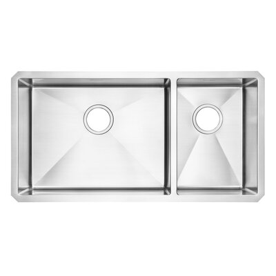 Pekoe 35 x 18 Double Basin Undermount Kitchen Sink with Grid and Drain